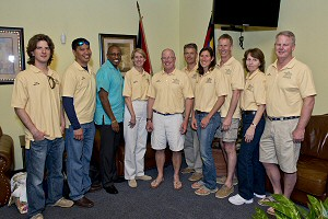 Winning Crew from the Antigua & Barbuda Hampton arrive in Antigua for Sailing Week 2013
