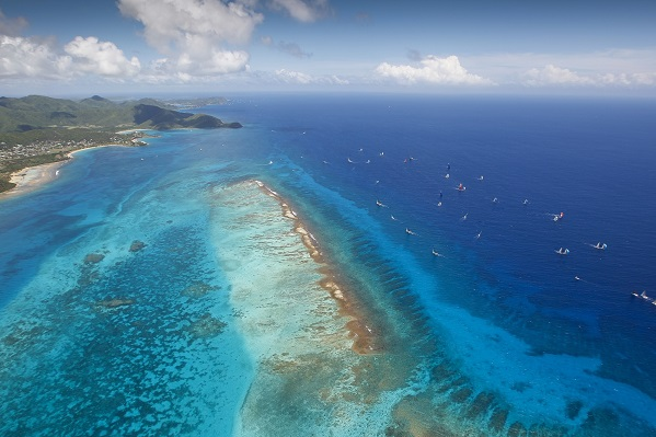 Aerial View of Cades Reef during the Yachting World Round Antigua Race 2013 by Paul Wyeth pwpictures.com
